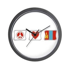 Peace, Love and Mongolia Wall Clock