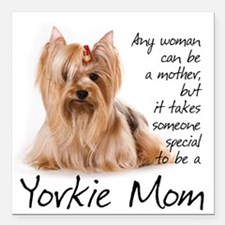"Yorkie Mom Car Magnet 3"" x 3"""