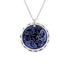 Celtic Chasing Hounds 1b Necklace Circle Charm