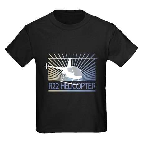 Aircraft R22 Helicopter Kids Dark T-Shirt