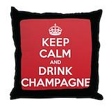 Keep calm drink wine Throw Pillows