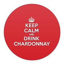 K C Drink Chardonnay Round Car Magnet