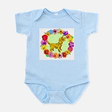 Dog in Flower Frame Infant Bodysuit