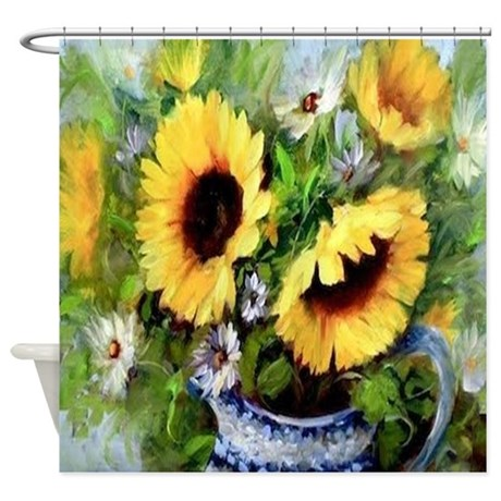 sunflower shower curtain by alittlebitofthis1. Black Bedroom Furniture Sets. Home Design Ideas