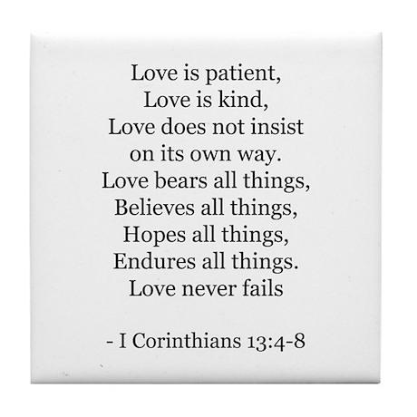 I Corinthians 13:4-8 Tile Coaster