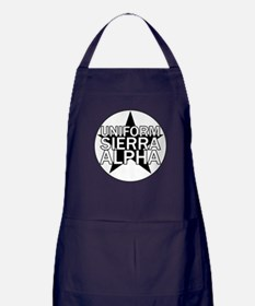 USA - Black & White Apron (dark)