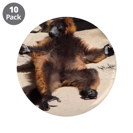 """A lay-back red-ruffed lemur 3.5"""" Button (10 pack)"""
