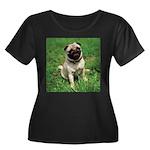 Cute Pug Women's Plus Size Scoop Neck Dark T-Shirt