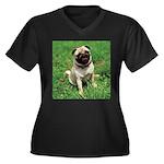 Cute Pug Women's Plus Size V-Neck Dark T-Shirt