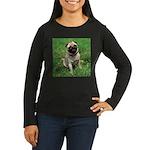 Cute Pug Women's Long Sleeve Dark T-Shirt
