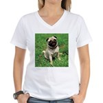 Cute Pug Women's V-Neck T-Shirt