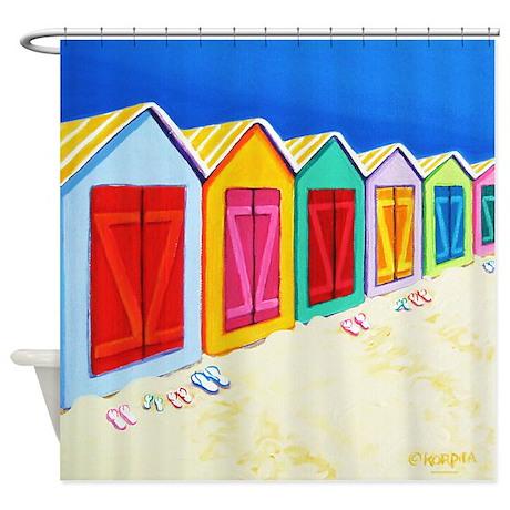 Cabana Row Beach Huts Shower Curtain By Rebeccakorpita