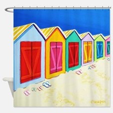 Cabana Row Beach Huts Shower Curtain
