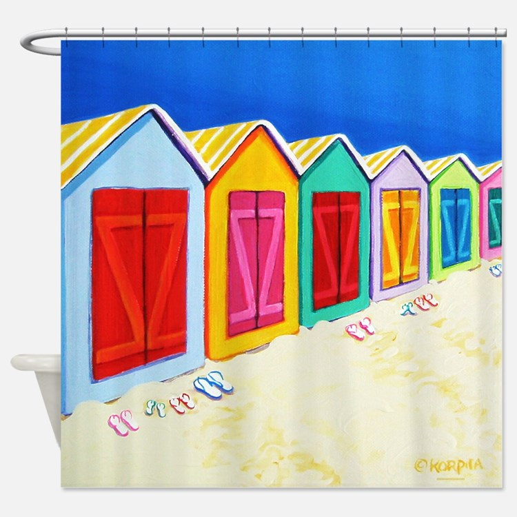 Cabana Row Beach Huts Shower Curtain