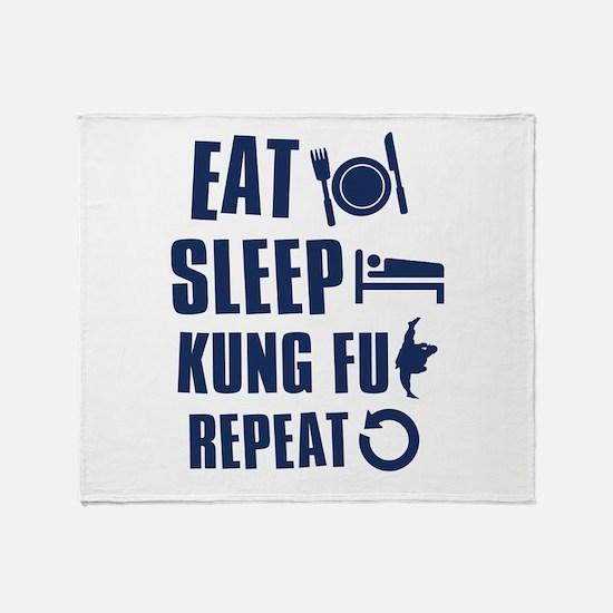 Eat Sleep Kung Fu Throw Blanket
