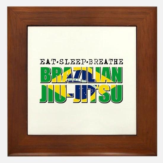 Eat Sleep Brazilian Jiu Jitsu Framed Tile