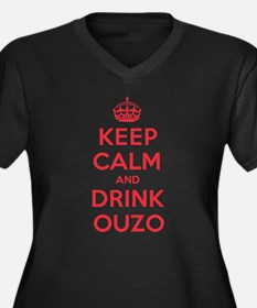 K C Drink Ouzo Women's Plus Size V-Neck Dark T-Shi