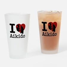 Aikido Heart Designs Drinking Glass