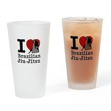 Brazilian Jiu Jitsu Heart Designs Drinking Glass