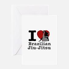 Brazilian Jiu Jitsu Heart Designs Greeting Card