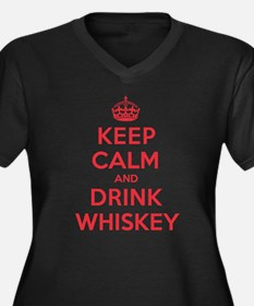 K C Drink Whiskey Women's Plus Size V-Neck Dark T-