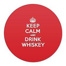 K C Drink Whiskey Round Car Magnet