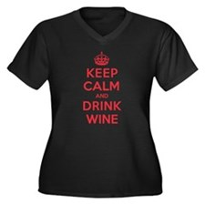 K C Drink Wine Women's Plus Size V-Neck Dark T-Shi