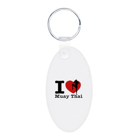 Muay Thai Heart Designs Aluminum Oval Keychain