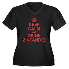K C Drink Zinfandel Women's Plus Size V-Neck Dark
