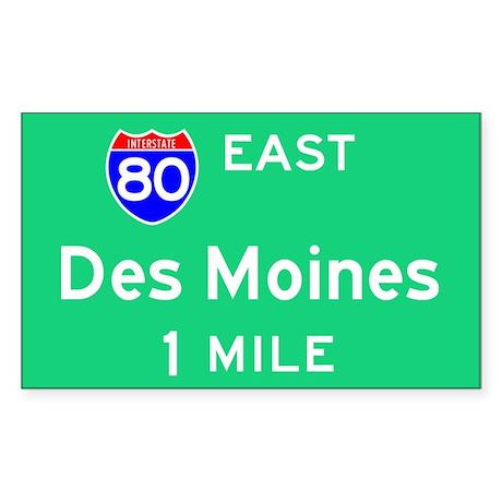 Des Moines Exit Sign Rectangle Sticker