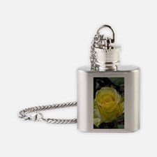 Singe yellow rose in sunlight Flask Necklace