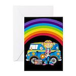 Hippie Girl and Camper Van Greeting Card