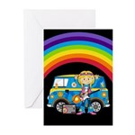Hippie Girl and Camper Van Cards (Pk of 10)