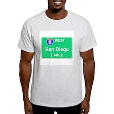San Diego Exit Sign Ash Grey T-Shirt