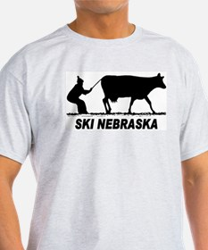 Ski Nebraska Ash Grey T-Shirt
