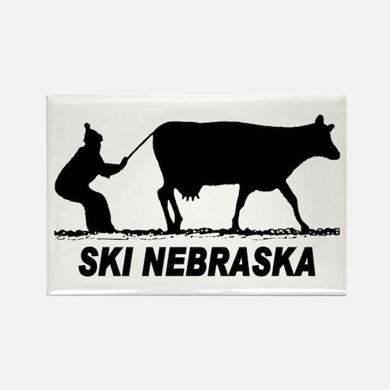 Ski Nebraska Rectangle Magnet