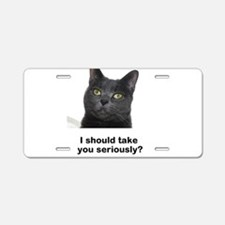 Seriously Blue Cat Aluminum License Plate