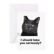 Seriously Blue Cat Greeting Cards (Pk of 10)