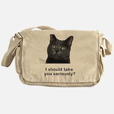 Seriously Blue Cat Messenger Bag