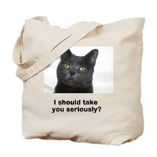 Seriously Blue Cat Tote Bag