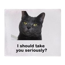 Seriously Blue Cat Throw Blanket