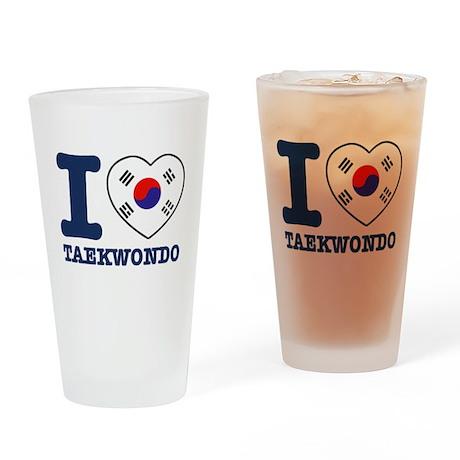 Taekwondo Flag Designs Drinking Glass