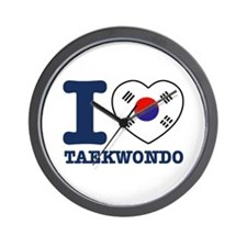 Taekwondo Flag Designs Wall Clock