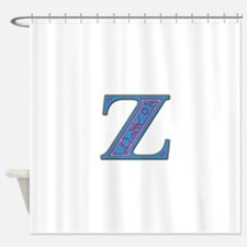 Z Blue Glass Shower Curtain