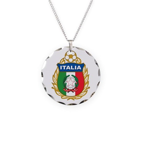 Italian World Cup Soccer Necklace Circle Charm
