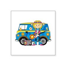 Hippie Girl and Camper Van Square Sticker 3""