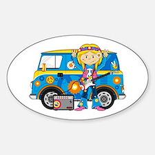 Hippie Girl and Camper Van Decal