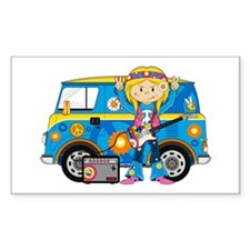 Hippie Girl and Camper Van Decal
