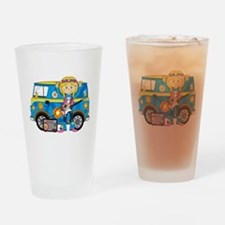 Hippie Girl and Camper Van Drinking Glass