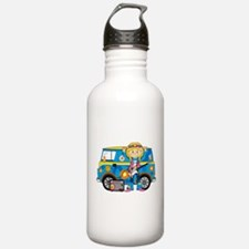 Hippie Girl and Camper Van Water Bottle